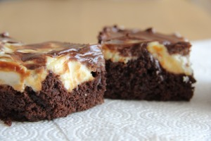Brownie topped with cheesecake!