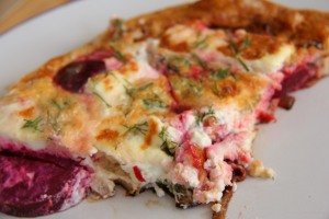 A colourful piece of frittata